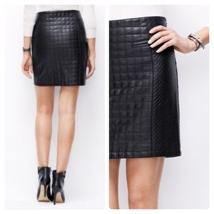 Ann Taylor Vegan Faux Leather Quilted Black Skirt